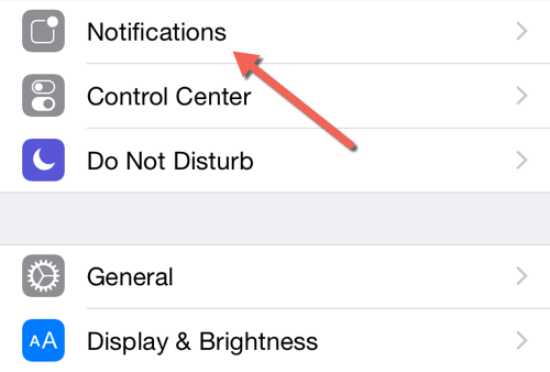 iOS notifications settings