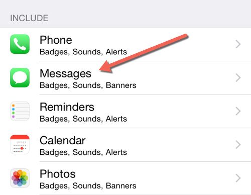 iOS Messages notification settings