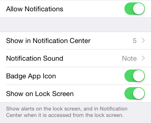 iOS Messages notifications settings