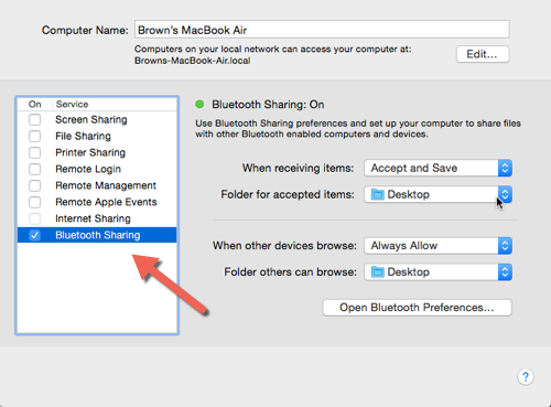 OS X Bluetooth Sharing