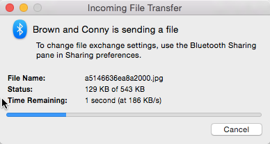 OS X receiving files