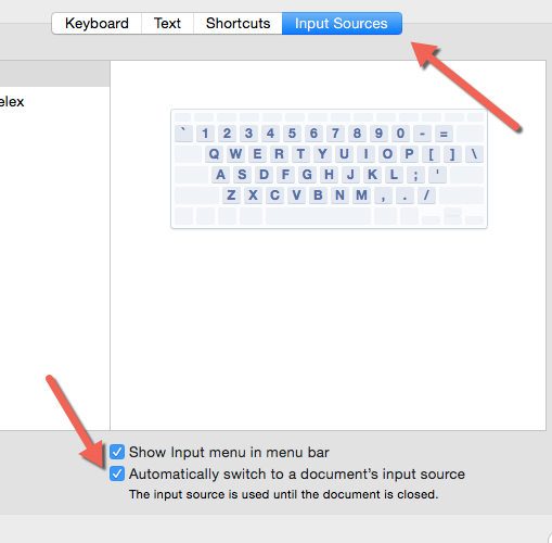 OS X automatically switch input source