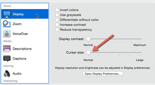 OS X increase cursor size