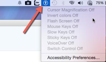 Accessibility in menu bar