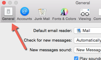 OS X Mail General Preferences