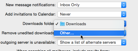 OS X Mail Change download folder