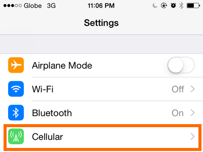 Cellular options on settings