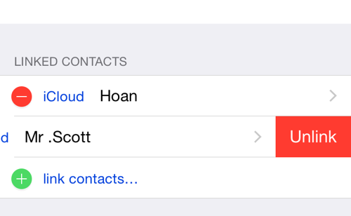unlink iPhone contacts