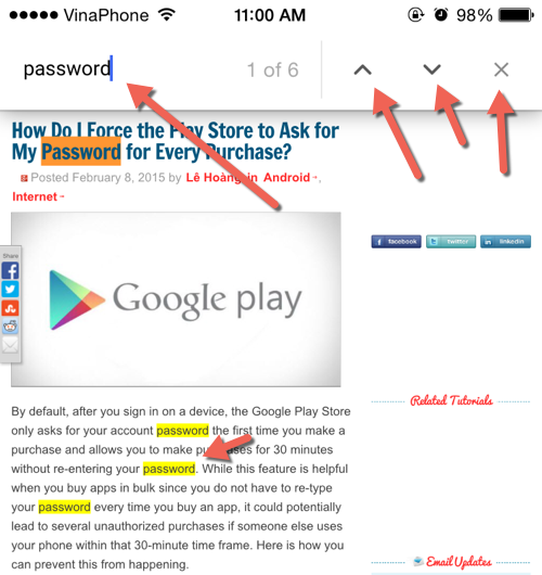 search for text Chrome iPhone