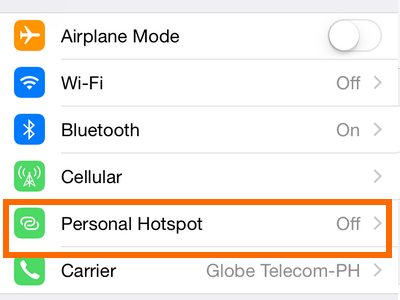 Personal Hotspot on Settings