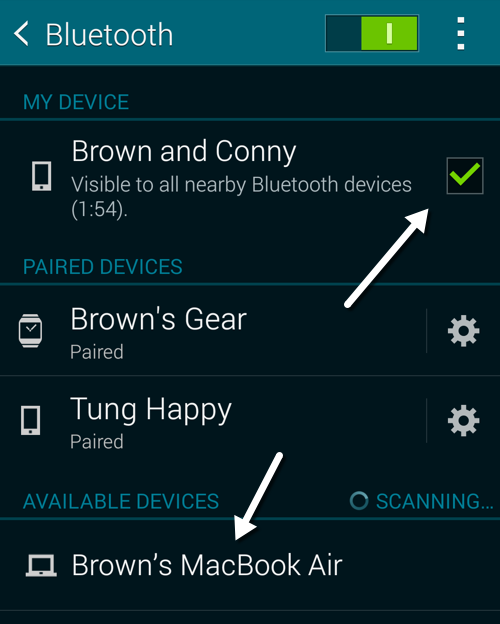 Samsung scans for bluetooth devices
