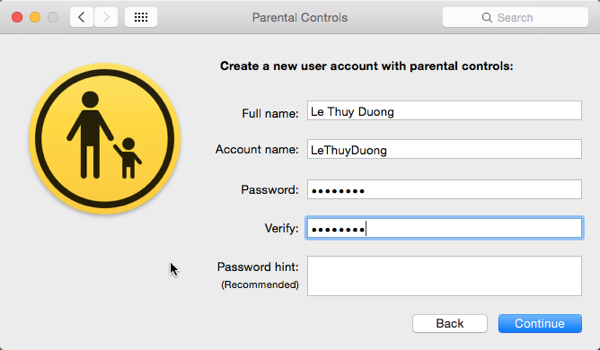 Set up new account on OS X