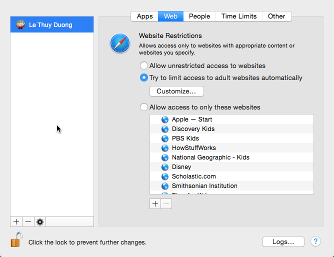 block websites on OS X