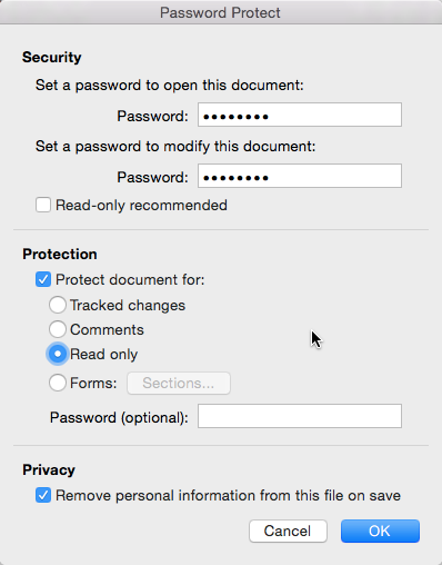 Password protect document on Mac