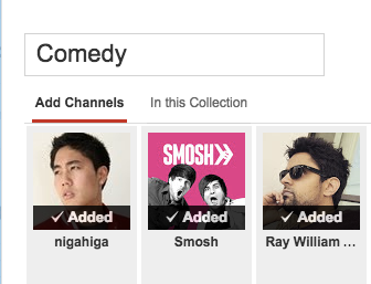 Add channels to Youtube subscription collection