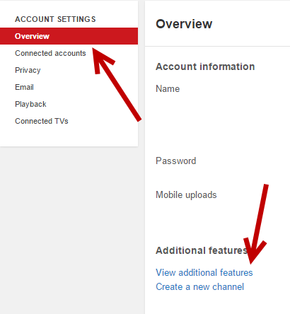 YouTube additional Settings