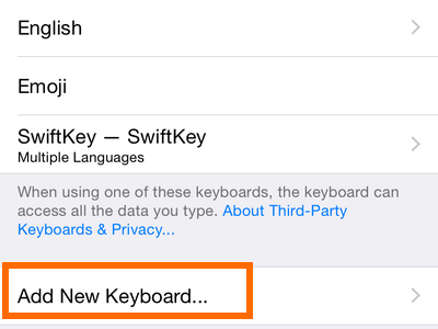Add new keyboard option