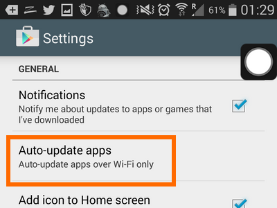 Auto updat Apps on General Settings