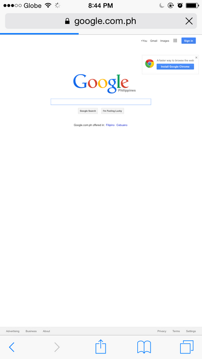 Google desktop view in safari