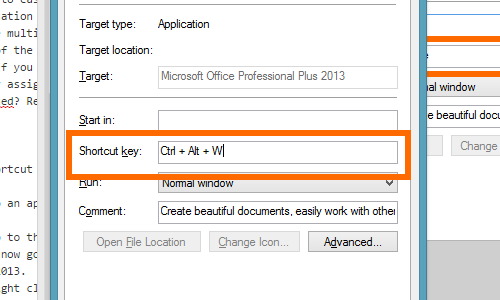 Keyboard shortcut now assigned