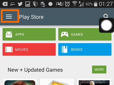 Menu icon on Playstore