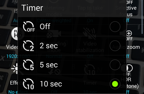 Samsung Camera Set Timer