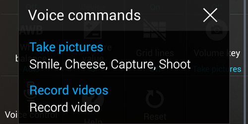 Voice commands for taking picture