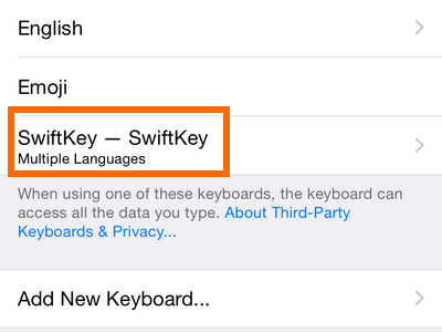 Swiftkey on keyboard list