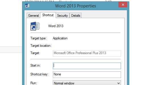 Word 2013 properties