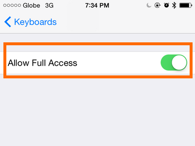 allow full access for keyboard