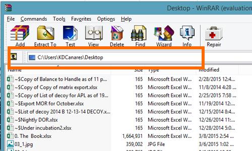 choose desktop as destination on RAR