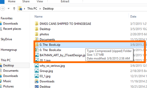 compressed file will now be on the location