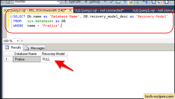 how to find sql server recovery model metadata query