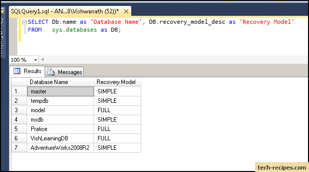 how to find sql server recovery model