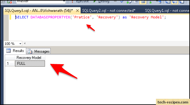 how to find sql sever recovery model method4