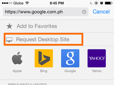 request for desktop site link