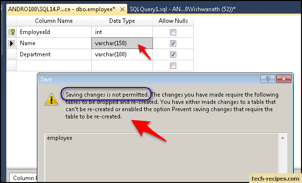 savings changes not permitted in sql server