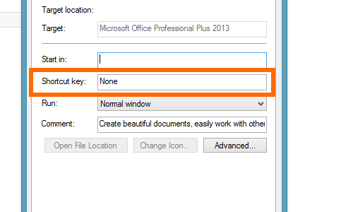 shortcut key tab on word 2013 properties