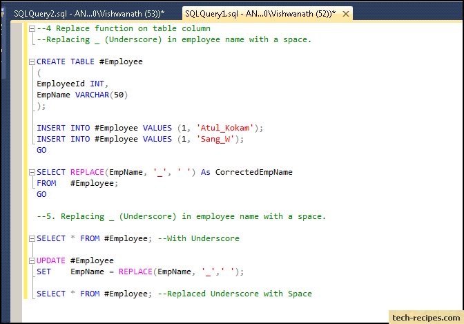 sql server replace function example 4-5 query