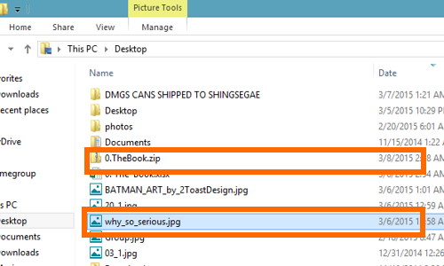 take note of the file names