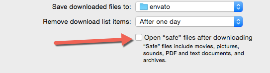 "Safari disable open ""safe"" files after downloading"