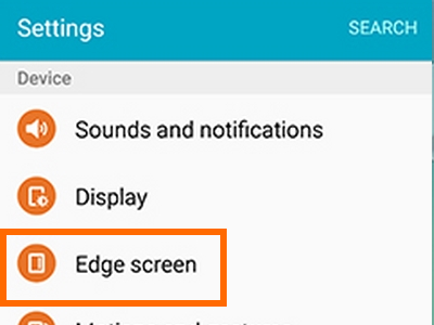 Edge Screen option on Galaxy S6 Edge