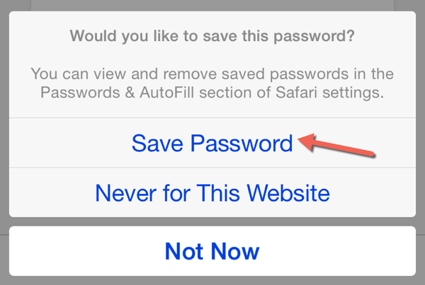 Safari Save Password