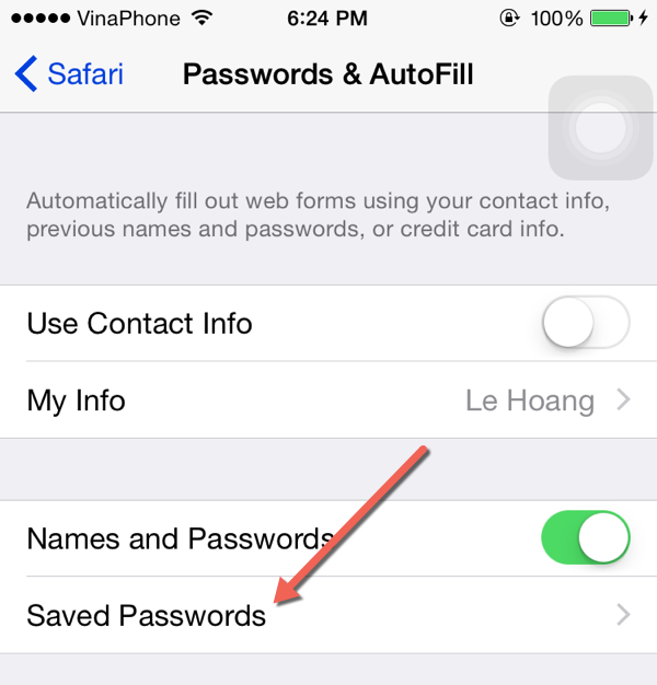 Safari Saved Passwords