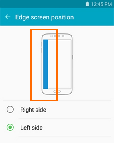 position of edge screen is changed to left