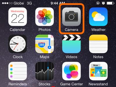 Camera app on home screen