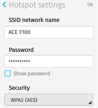 Hotspot Settings Details - Firefox OS