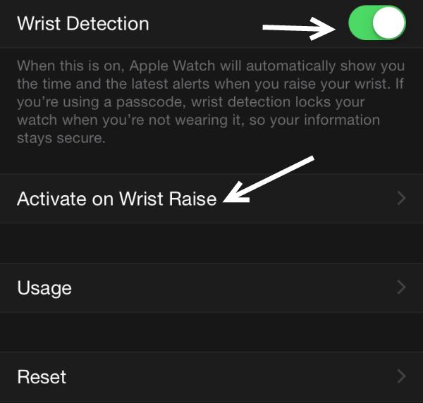 Apple Watch Activate on Wrist Raise