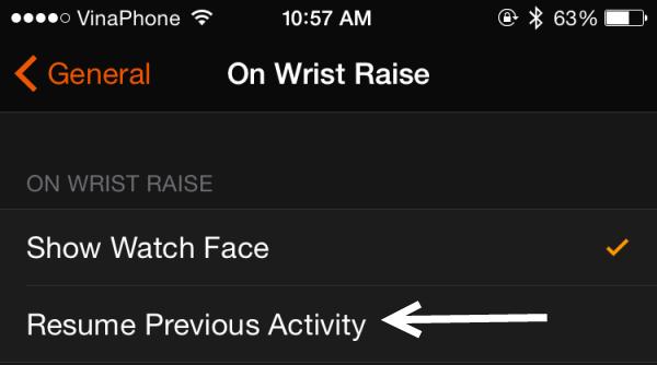 resume app on wrist raise