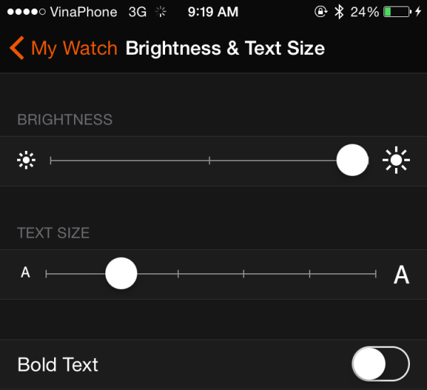 Brightness & Text Size Apple Watch